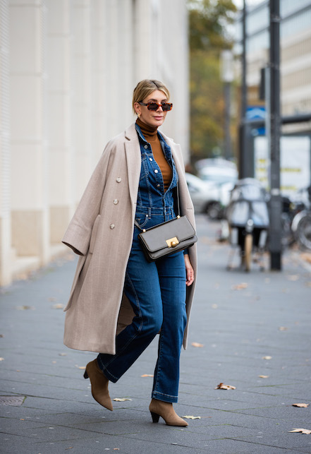 total look denim elegante