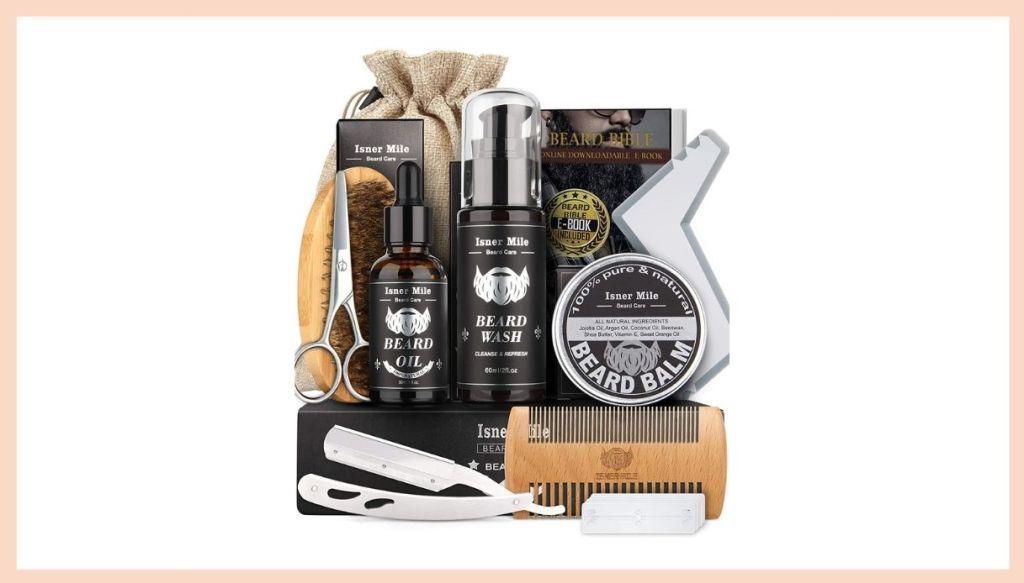 Kit prodotti cura della barba shampoo olio balsamo spazzola pettine forbici rasoio