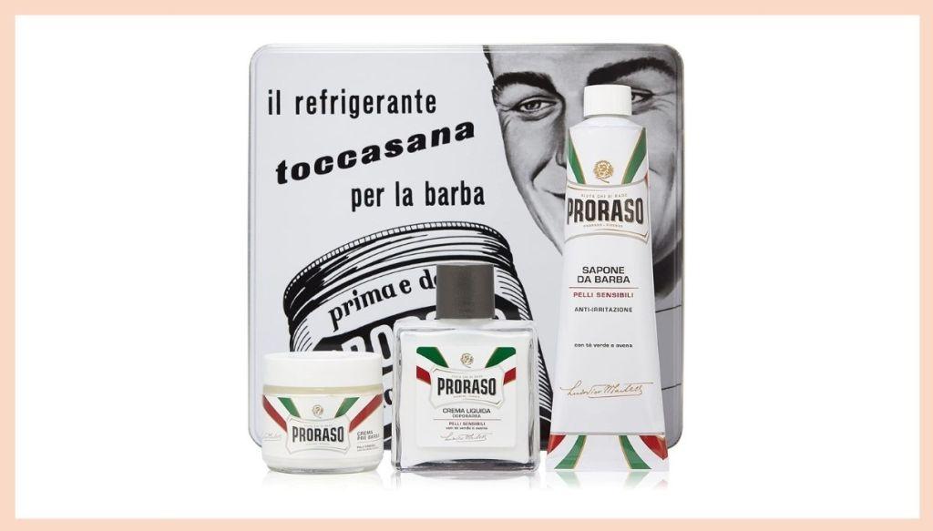 Scatola di latta e prodotti da barba Proraso Kit Toccasana