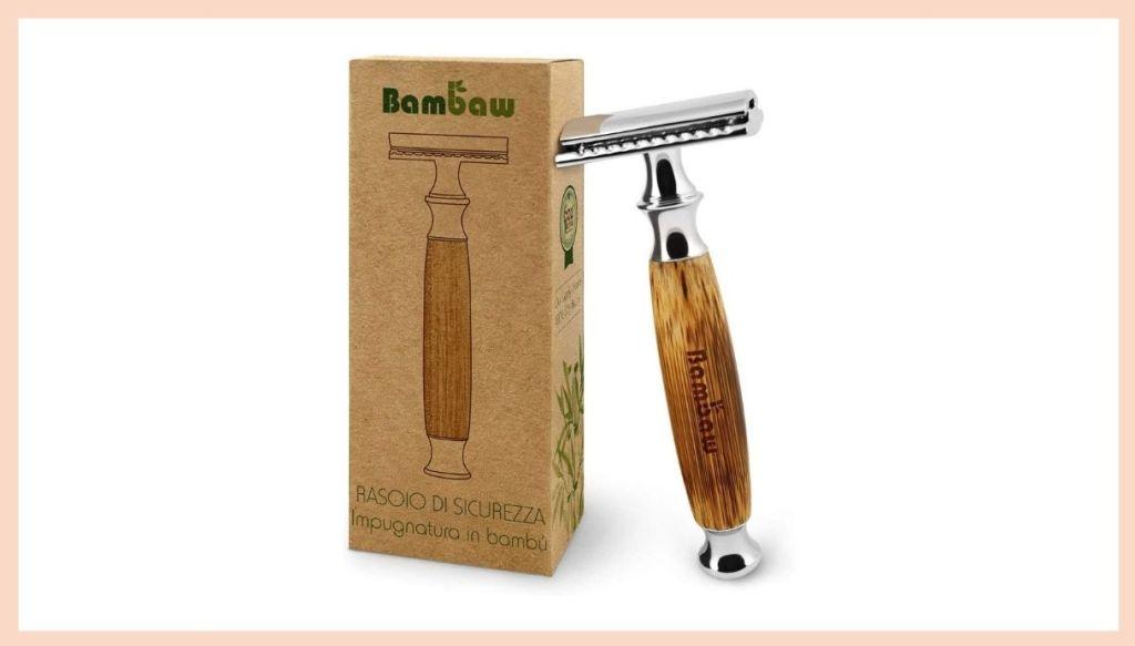Rasoio di sicurezza in metallo con manico in bambù