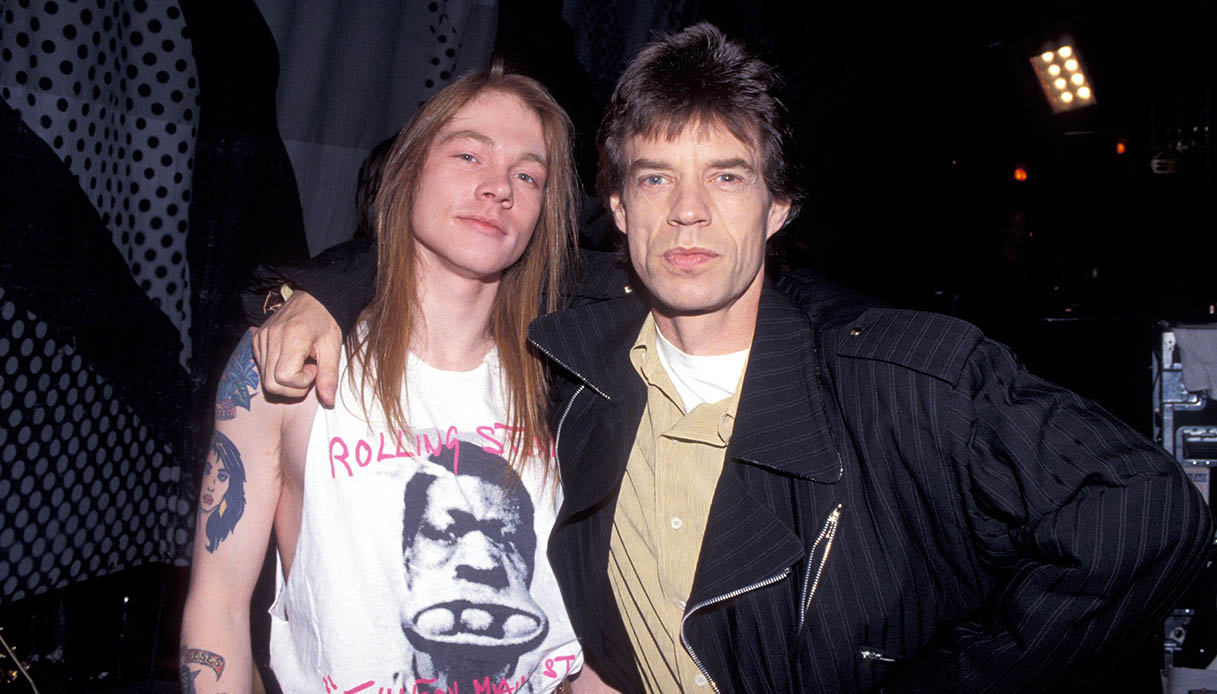 Axl Rose of Guns N' Roses with Mick Jagger
