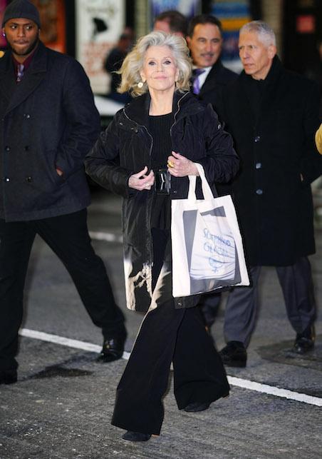 Jane Fonda in total black