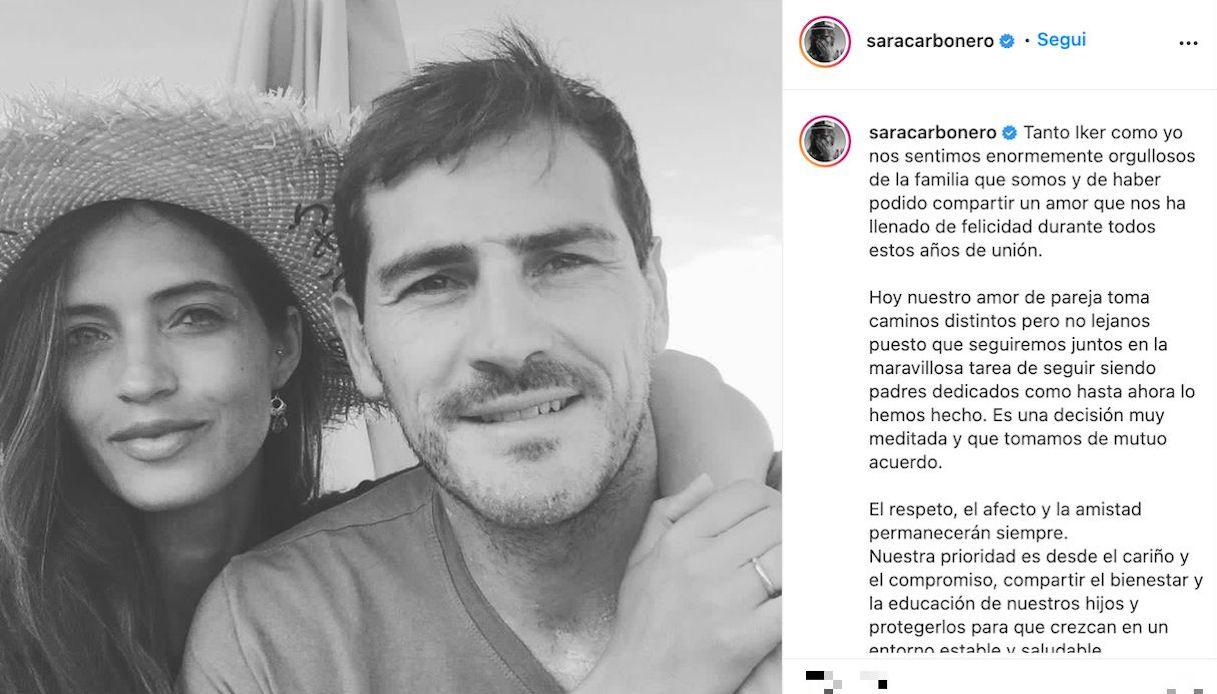 Sara Carbonero e Iker Casillas, l'annuncio della separazione