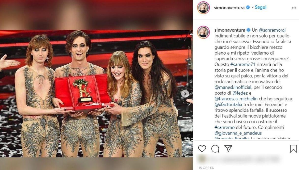 Simona Ventura, il post su Instagram