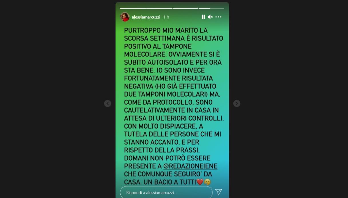 Alessia Marcuzzi post su Instagram
