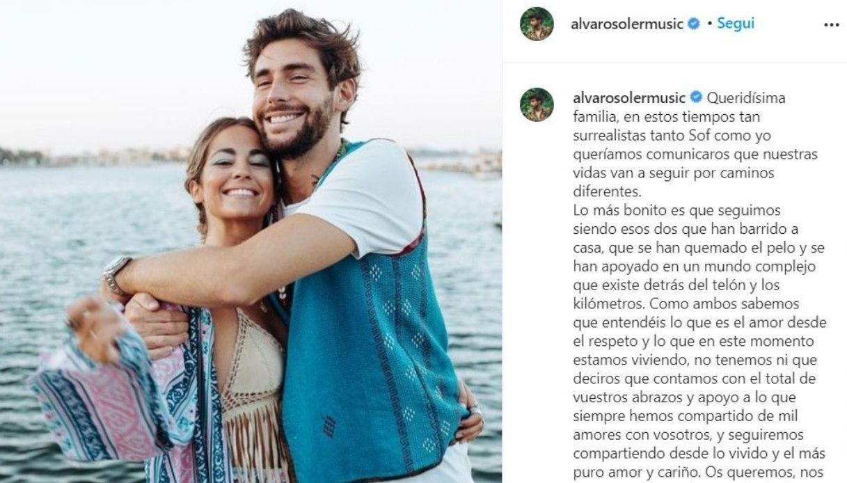 Alvaro Soler, il post su Instagram