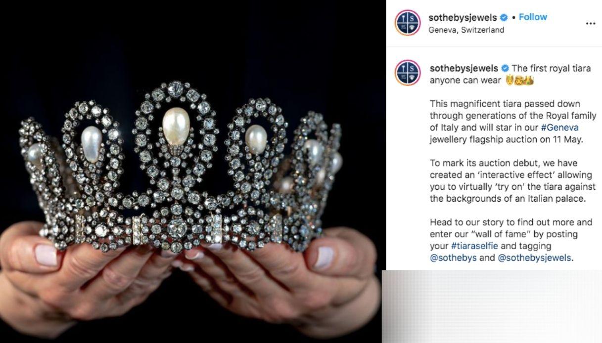 La tiara dei Savoia all'asta
