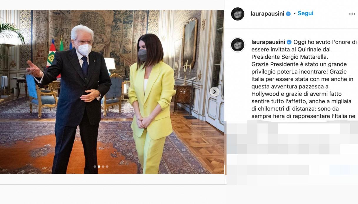 Laura Pausini e il Presidente Mattarella post