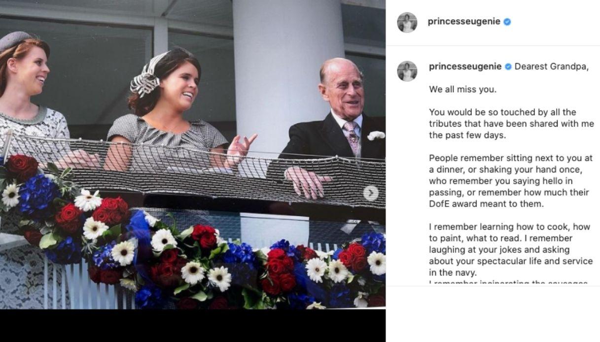 Eugenia di York, il messaggio su Instagram per il nonno Filippo