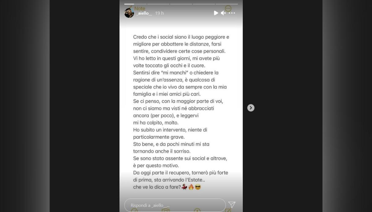 Aiello, la Storia condivisa su instagram