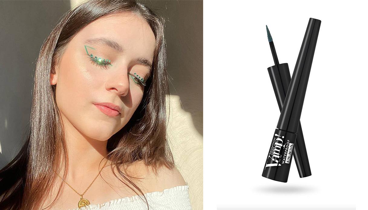 eyeliner colorato verde look