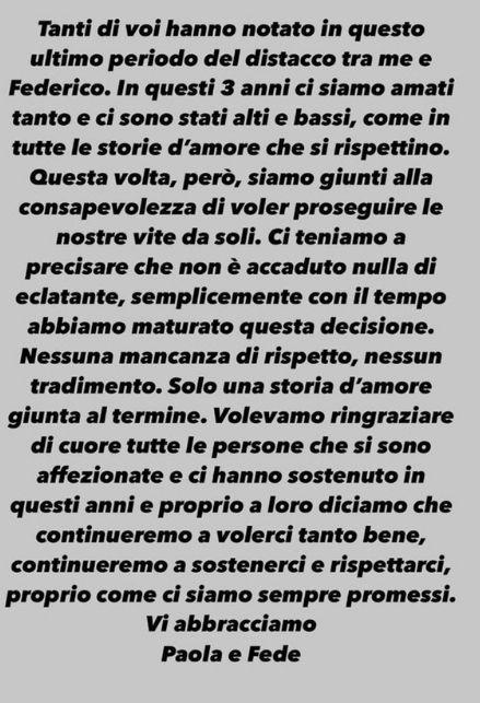 Il messaggio di Paola Di Benedetto