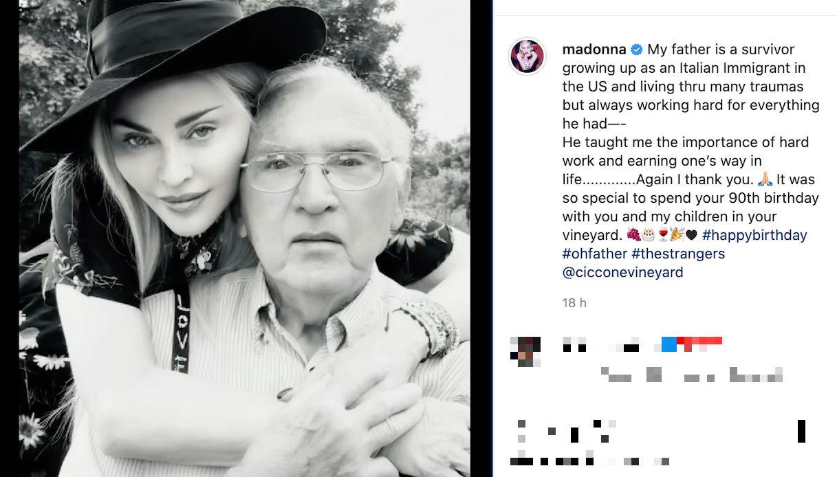 Madonna, il compleanno di padre Silvio Ciccone