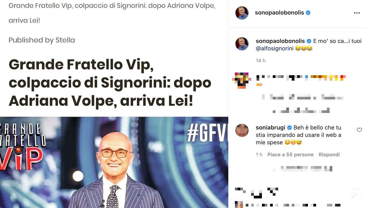 Sonia Bruganelli opinionista al GF Vip, la reazione social di Paolo Bonolis