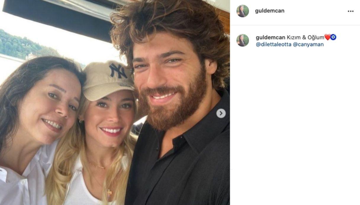 Diletta e Can con la mamma dell'attore su Instagram