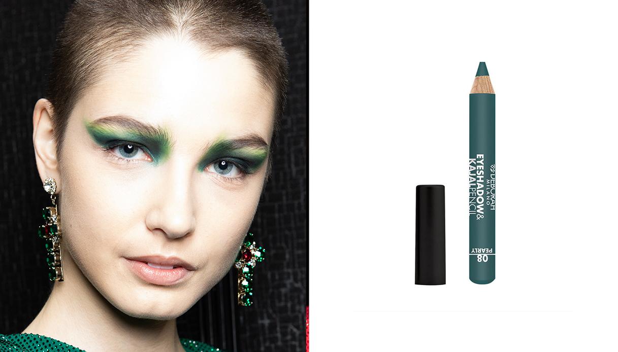make-up verde smokey glam rock look
