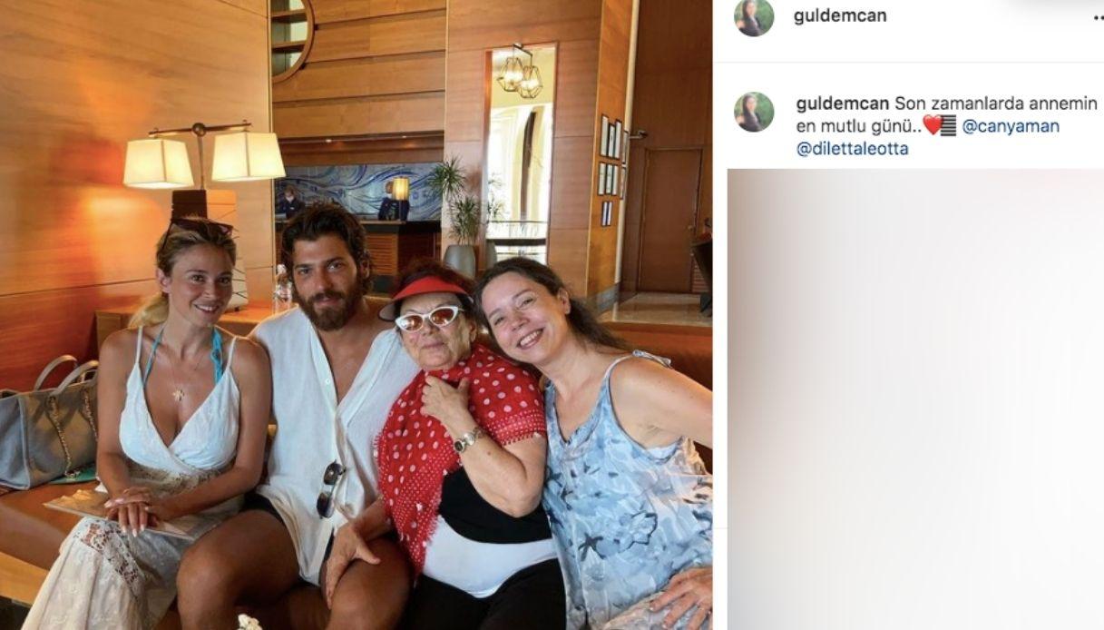 Diletta Leotta e Can Yaman con la nonna dell'attore