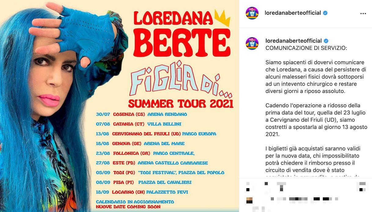 Loredana Bertè, piccolo problema di salute
