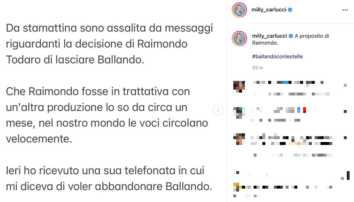 Milly Carlucci, la reazione all'addio di Todaro