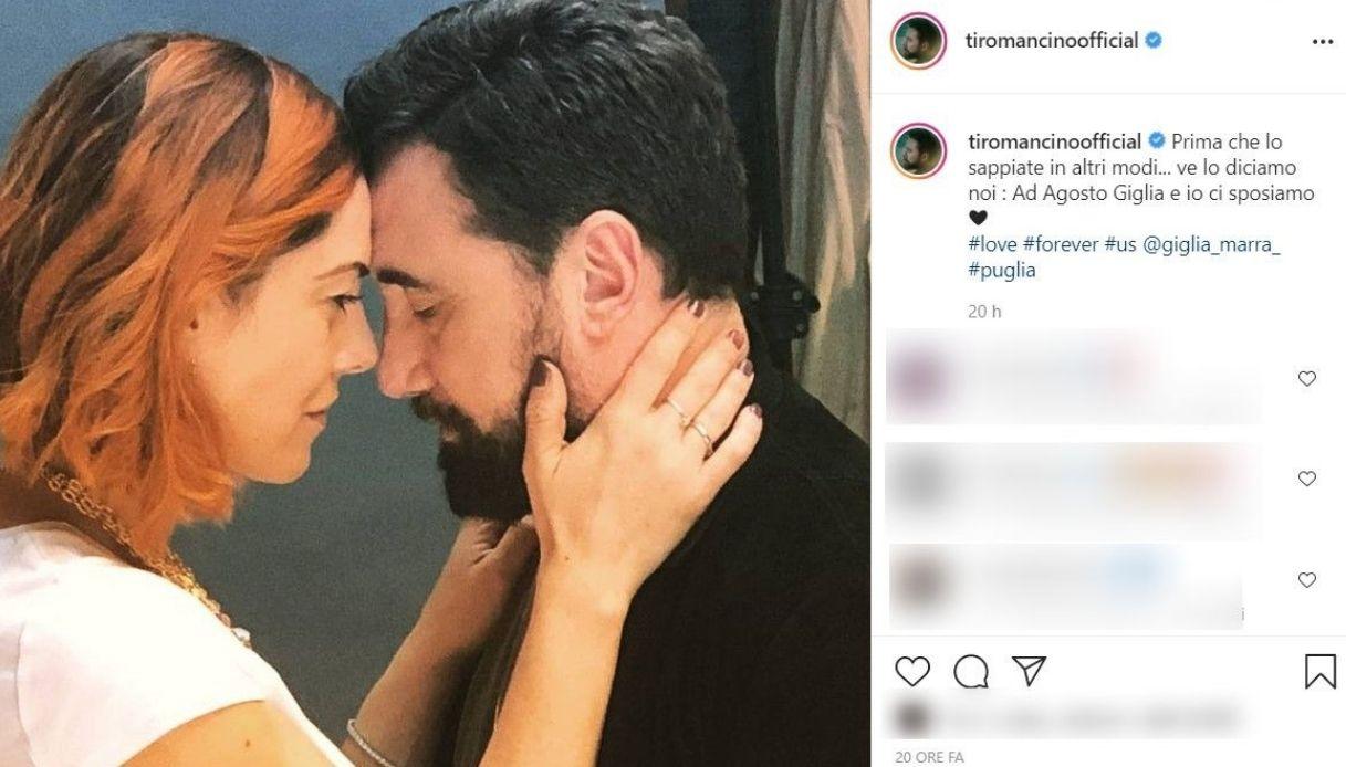 Zampaglione, il post su Instagram annuncio nozze