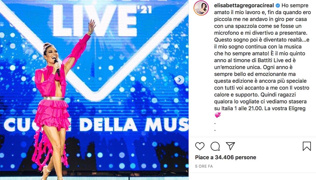 Elisabetta Gregoraci il post su Instagram