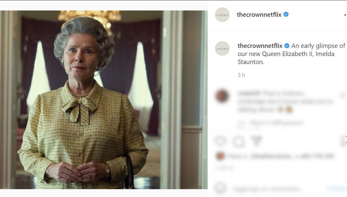 Imelda Staunton in The Crown su Instagram