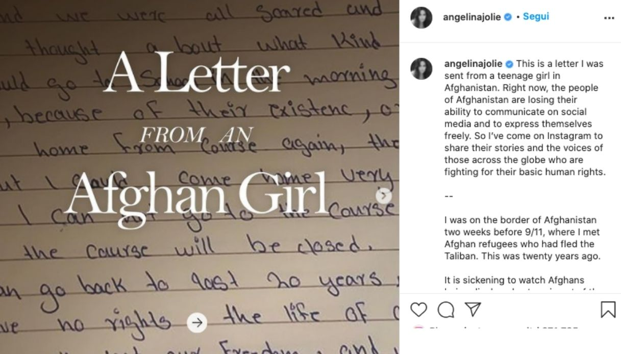 Angelina Jolie, primo post su Instagram