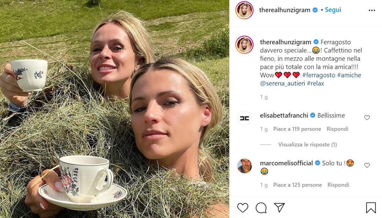 Michelle Hunziker il post su Instagram