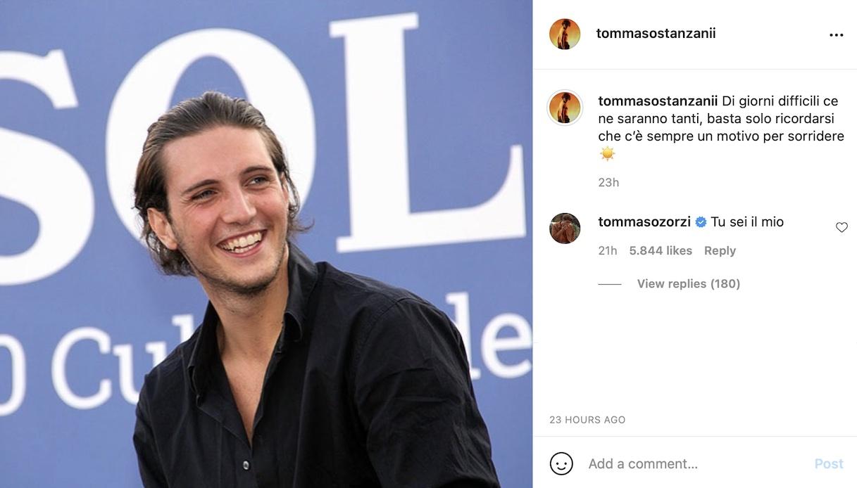 """Tommaso Zorzi, la dolce dedica per Stanzani: """"Tu, il mio motivo per sorridere"""""""