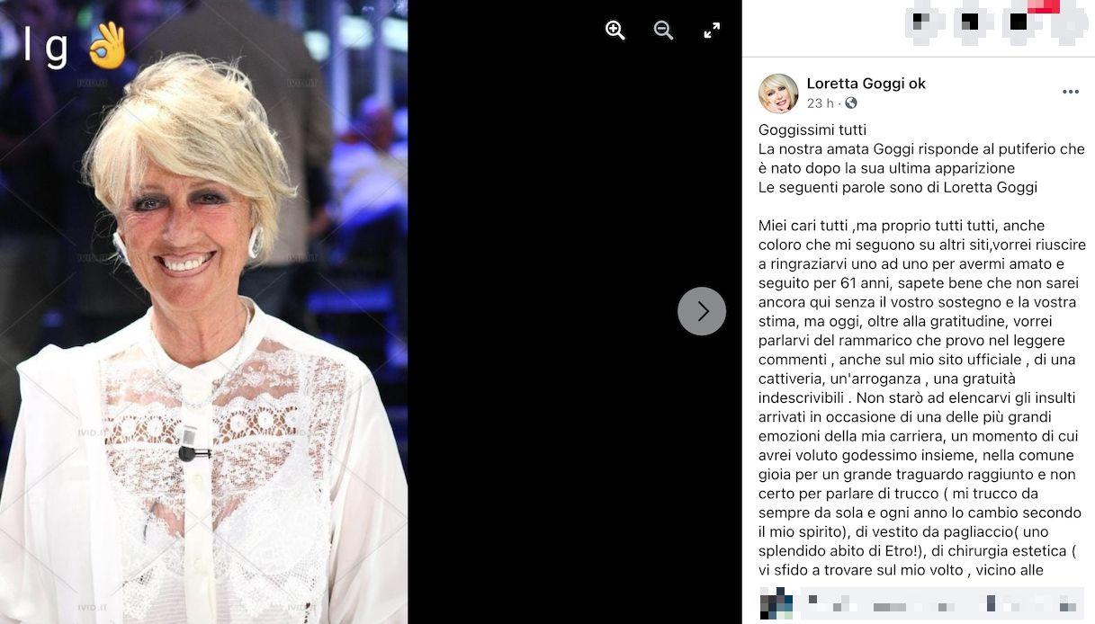 Loretta Goggi, gli insulti sui social