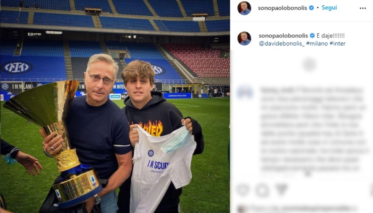 Paolo Bonolis con il figlio Davide