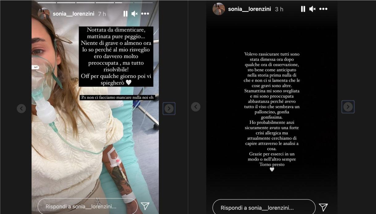 Sonia Lorenzini in ospedale per una crisi allergica