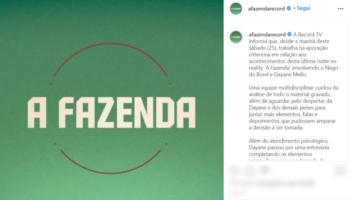 Comunicato A Fazenda su Instagram