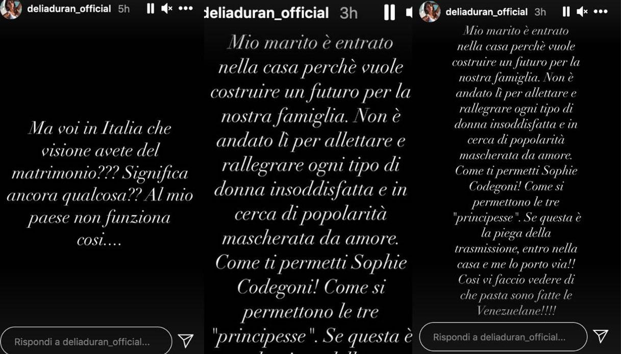 Alex Belli, le parole di Delia Duran