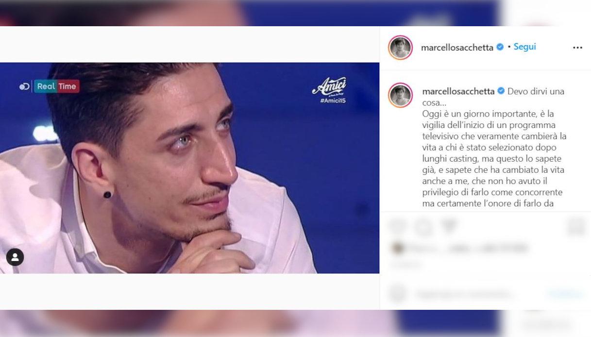 Marcello Sacchetta il post su Instagram
