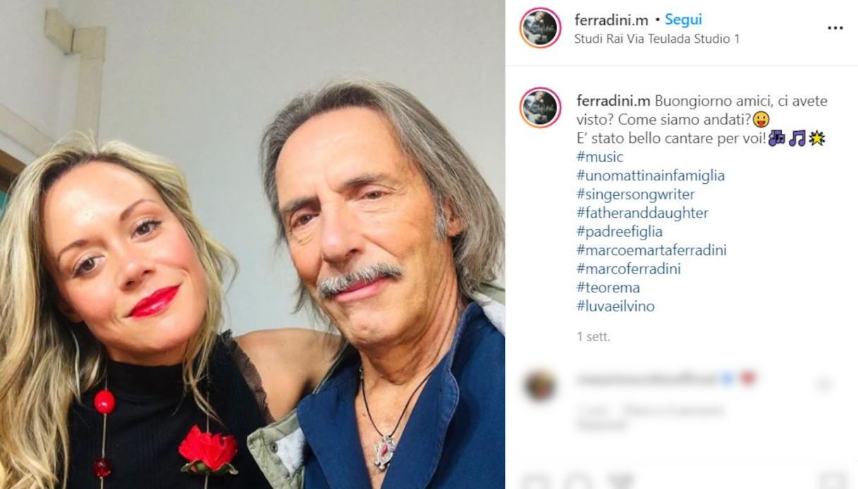 Marco Ferradini e Marta Charlotte su Instagram