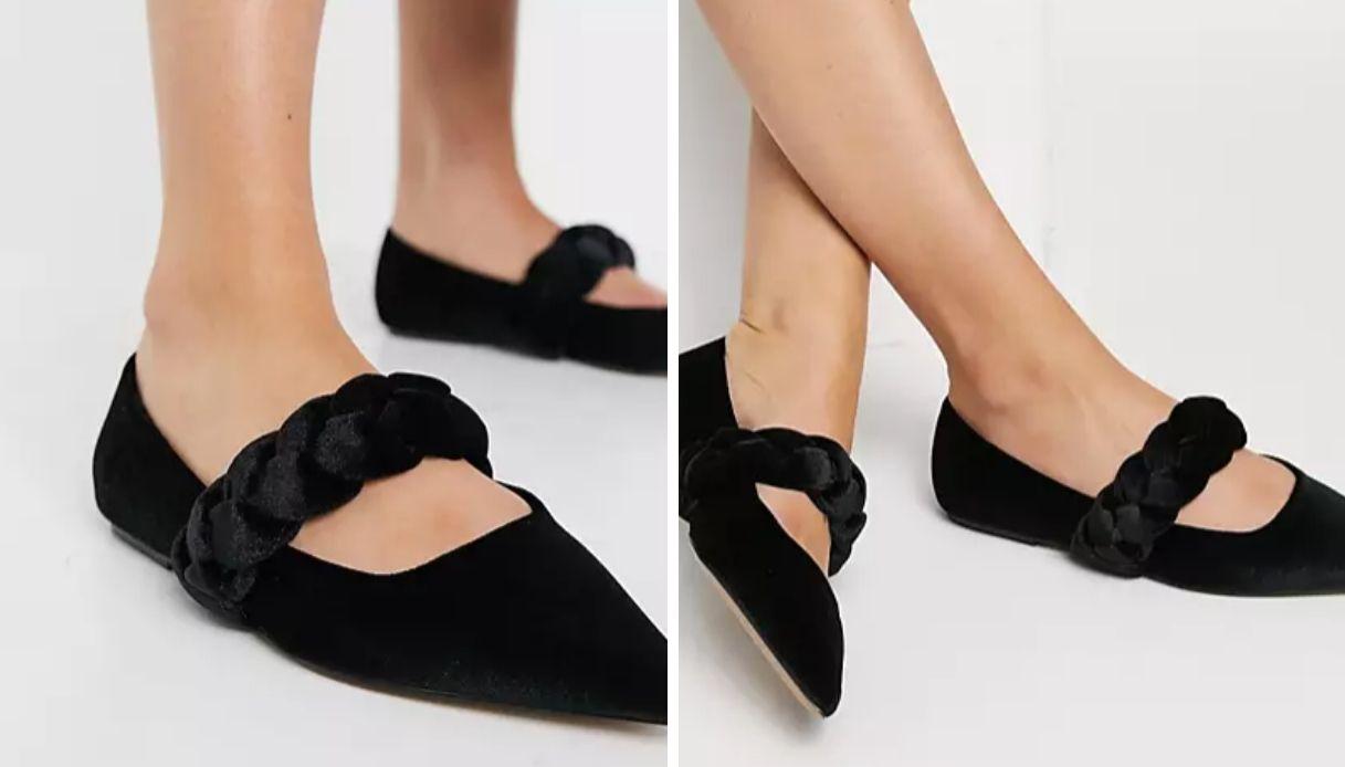 Ballerine Mary Jane a punta con cinturino intrecciato in velluto nero