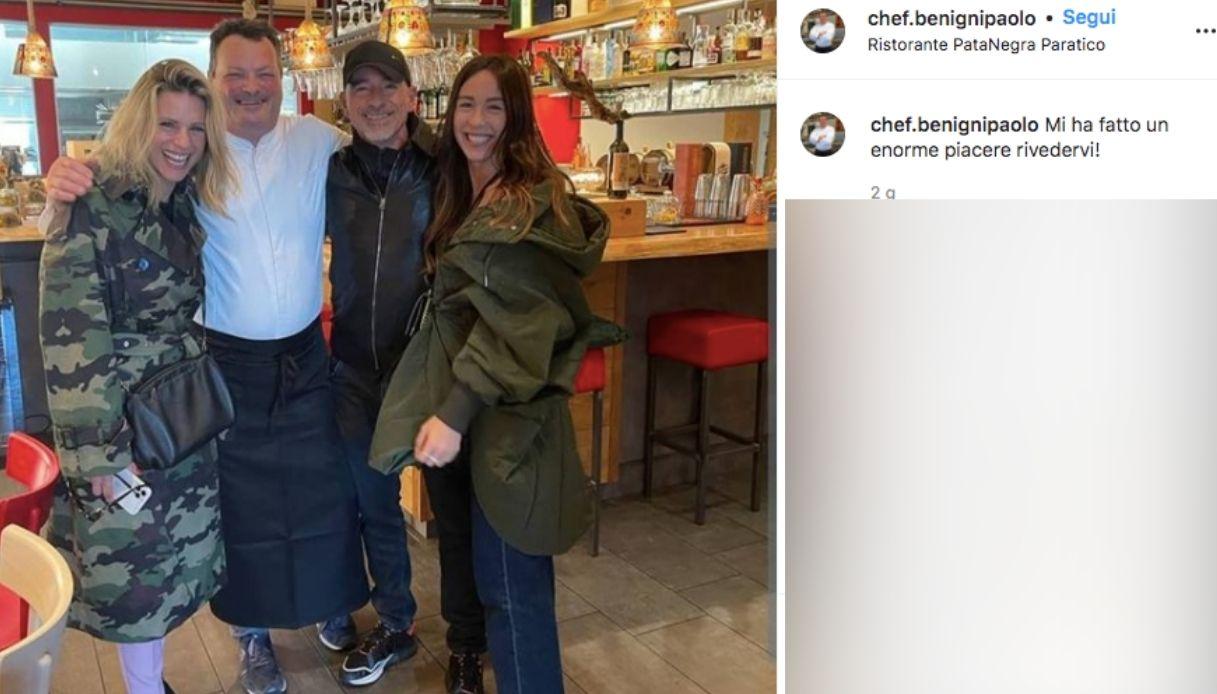 Eros Ramazzotti e Michelle Hunziker, pranzo insieme per Aurora