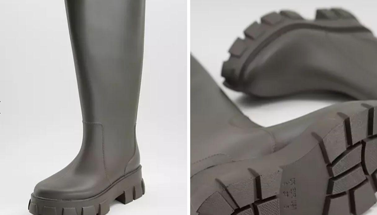 Stivali da pioggia al ginocchio kaki
