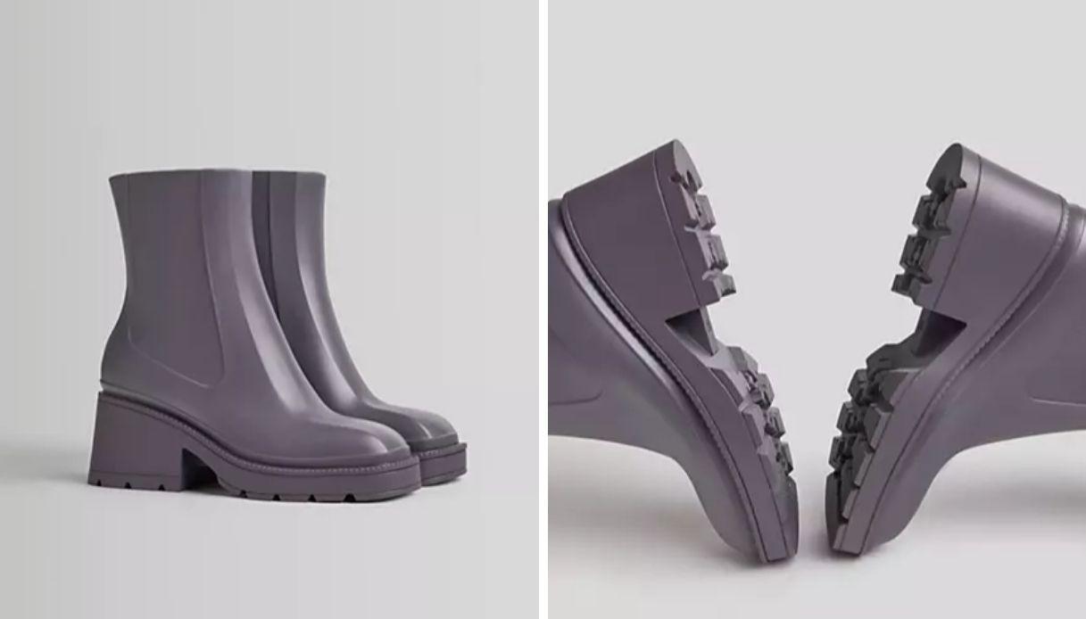 Stivali da pioggia alla caviglia lilla