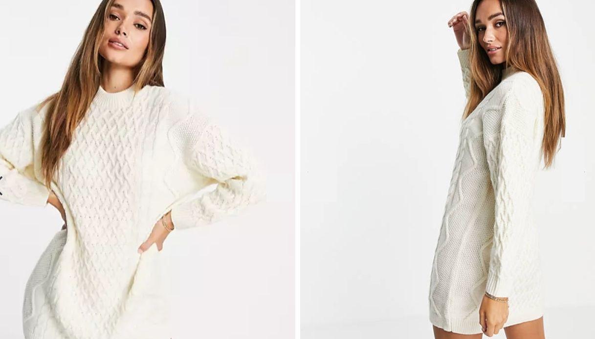 Vestito corto in maglia a trecce color crema